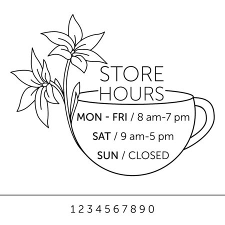 Business hours for cafe. Sticker with lilies on the window