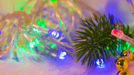 Pine branch with golden beads in bright multi-colored garland lights. Background for postcards. Christmas and New Year. Place for text. Selective focus.