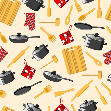 Kitchen utensils. Cooking. Seamless background. Frying pan, saucepan, cutting Board, rolling pin and other. Vector illustration.