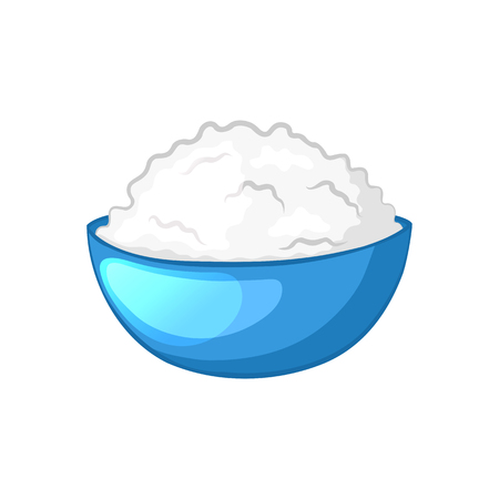 cottage cheese: Cottage cheese in blue bowl. Dairy product. Cartoon icon. Isolated object on a white background. illustration. Illustration