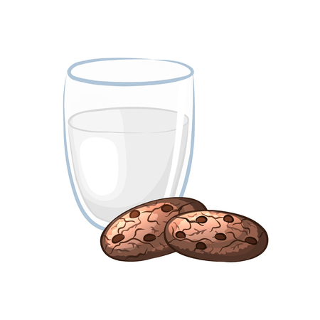 milk and cookies: Milk in glass and chocolate chip cookies on a white background. Sweet pastry. Cartoon icon. illustration.