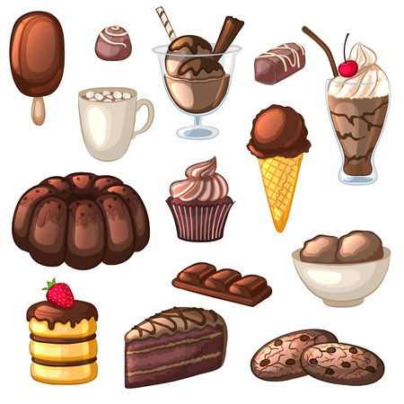 A set of chocolate desserts and drinks. Cakes, candy, cookies, milkshakes, ice cream and cocoa. Isolated objects on white background. Collection of confectionery. Cartoon icons. illustration.
