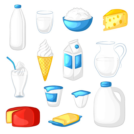 sour cream: Set of milk and dairy products. Cartoon icons. Cheese, yogurt, sour cream, butter, ice cream, milkshake. Isolated objects on white background. illustration.