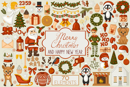 Christmas set cartoon elements. Santa Claus, elf, reindeer, gifts, wreaths, balls and other Christmas symbols. Cute icons for Xmas and new year's decoration. Retro style. Vector illustration. Vector Illustration