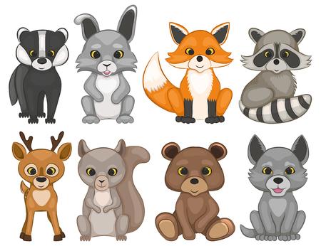 Animali svegli della foresta isolati su una priorità bassa bianca. Set di animali del bosco dei cartoni animati. Set di stampe per il design di t-shirt. Illustrazione vettoriale