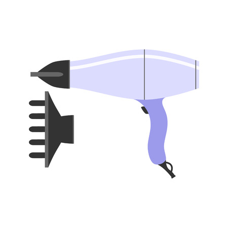 removable: Hairdryer and a removable nozzle. Flat icon. The tool for hairdresser. Isolated object on a white background. Vector illustration.