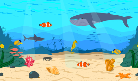 sunken: The bottom of the sea. The ocean and marine life. Coral reef, sand, and a sunken ship. Whale, shark, clown fish, sea horse and Royal angelfish. Underwater world.