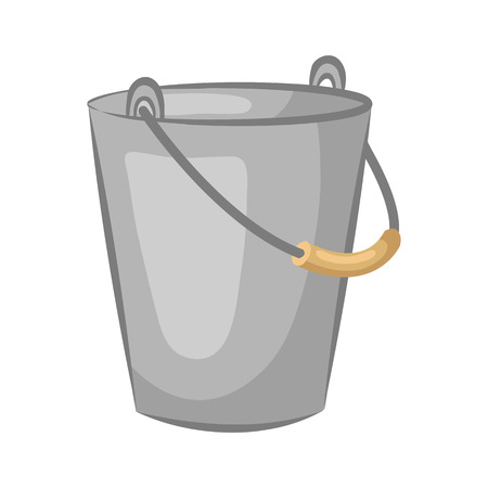 Beau Tin Pail. Bucket For The Garden Isolated On White Background. Cartoon Icon.  Vector