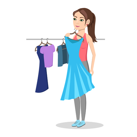 try: Girl trying on dress in clothing store. Shopping. Woman buys a fashionable, beautiful dress. Isolated on white background. Vector illustration.