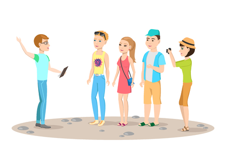 The tour guide and group of tourists. People in summer clothes. Rest in warm countries. Vector illustration.