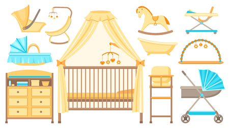 Baby furniture and equipment set. Cot, changing table, stroller, cradle, bath, highchair and other items of baby care. Vector illustration.
