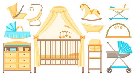 Ensemble de meubles et d'équipements pour bébés. Lit bébé, table à langer, poussette, berceau, baignoire, chaise haute et autres articles de soins pour bébés. Illustration vectorielle. Vecteurs