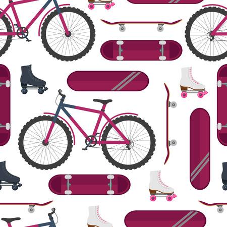 スケート、自転車、ローラー スケート。ストリート スポーツ。シームレス パターン。ベクトルの図。  イラスト・ベクター素材