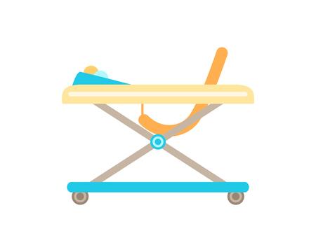The baby walker. Isolated on white. Vector illustration. Ilustração