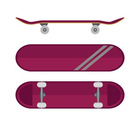 さまざまな角度からスケート ボード。白い背景上に分離。ベクトルの図。  イラスト・ベクター素材