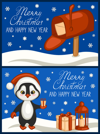 Cute penguin in a red Santa Claus hat with a gift in hand. Illustration