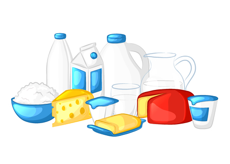 Milk and dairy products. Cartoon icons on white background.