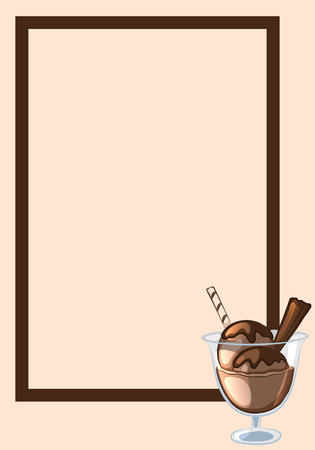 Frame, decorated with chocolate ice cream in a glass vase. Vector illustration. Çizim