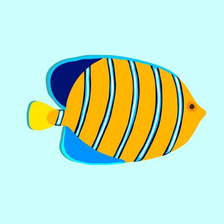 Royal angelfish isolated on cyan background Illustration