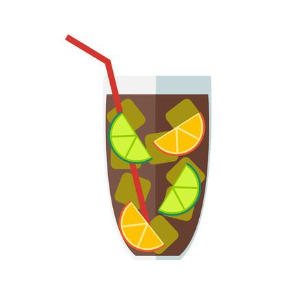 Long island cocktail. Cuba Libre, vector illustration.