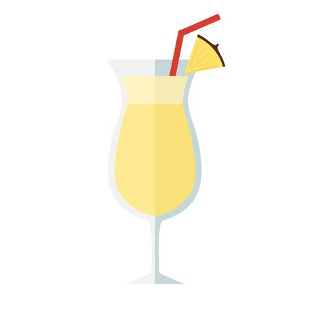 Pina colada icon cocktail on white backhround, vector illustration. Illustration
