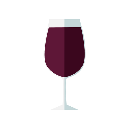 Glass of red wine. Flat design, vector illustration. Illustration
