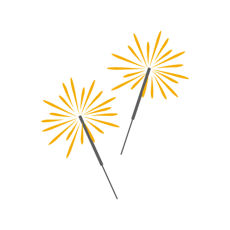 Burning sparklers. Cartoon icon. Isolated object on white background. Vector illustration.