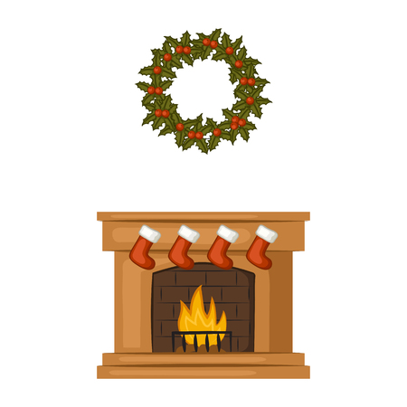 Christmas wreath of leaves and berries of mistletoe. Christmas fireplace with stockings. Cartoon icons. Isolated objects on white background. Illustration