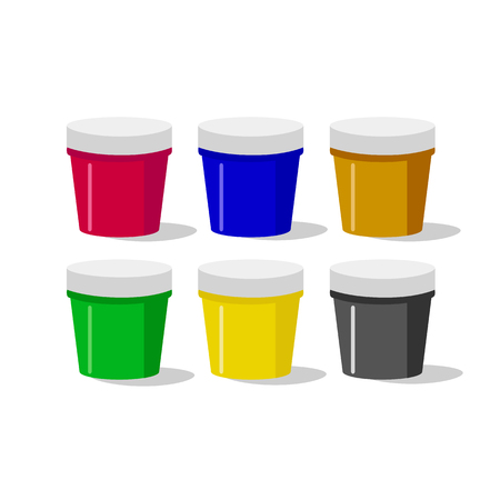 A set of gouache paints. Jars isolated on white background. Vector illustration