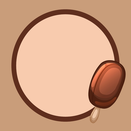 Frame with chocolate ice cream on a stick. Vector illustration. Çizim