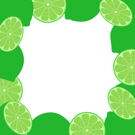 Frame of lime on white background. Vector illustration.  イラスト・ベクター素材