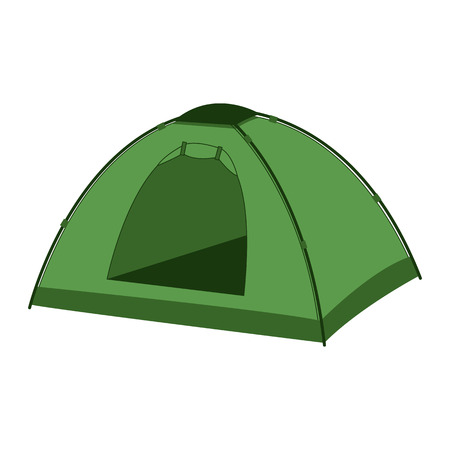 The green tent icon. vector illustration.