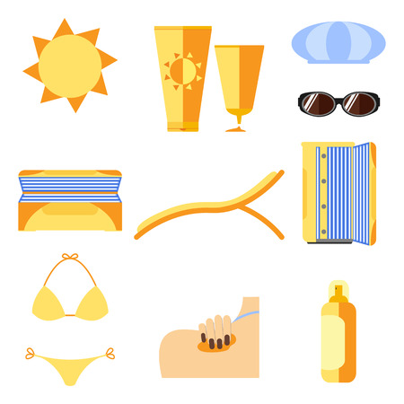 Tan icons set. Isolated on white. Sunburn and sun protection. Vector illustration.