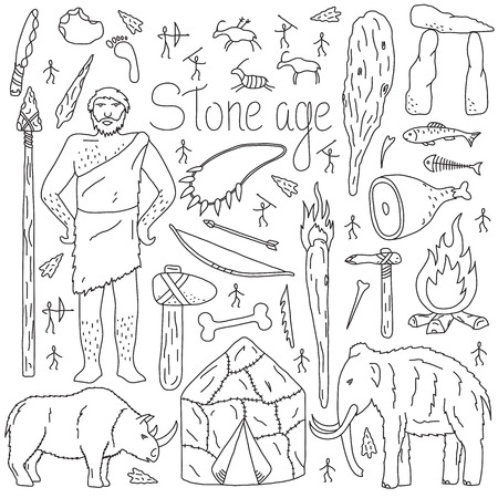 Stone age items. Set of isolated objects on white background. Hand drawn style. Vector illustration.