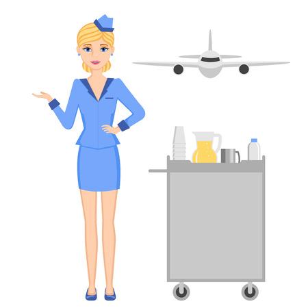 Profession set: stewardess. Plane front view. Cart flight attendants. Stock Illustratie
