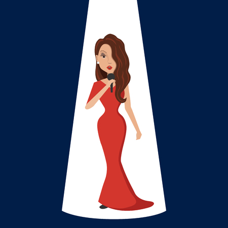 Singer. The woman in the red dress.
