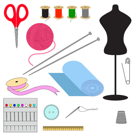 Set of sewing tools icon.