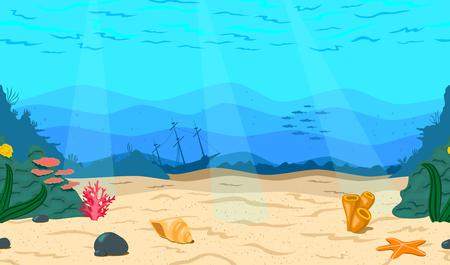 Cartoon Meer, Ozean. Der Meeresboden für das Spiel. Horizontales nahtloses Korallenriff. Seehintergrund, Vektorillustration.