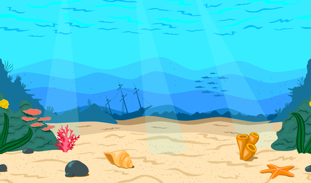 Cartoon sea, ocean. The seabed for the game. Horizontal seamless coral reef. Nautical background, vector illustration.
