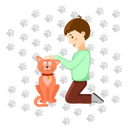 Boy stroking cute little cat, vector illustration. Çizim