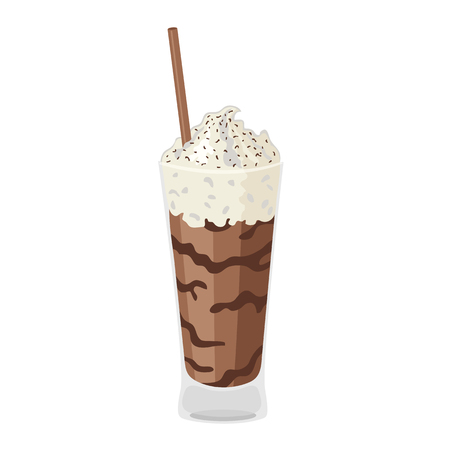 Chocolate milkshake. Coffee cartoon icon, isolated on white background.
