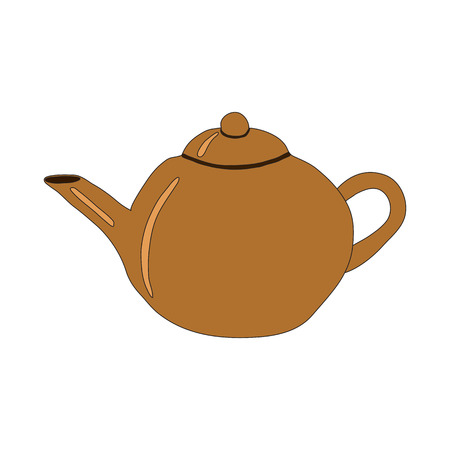 Earthenware teapot. Isolated object on a white background.