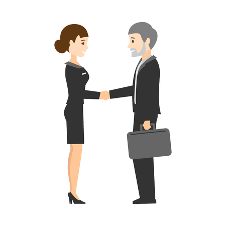 Handshake. Businessmen made a deal. Flat design.