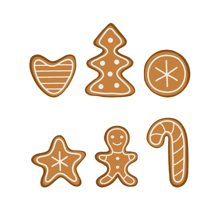 Christmas cookies set. Tree, heart, gingerbread man. Vector illustration.