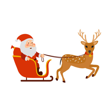 Reindeer carries Santa Claus in the sleigh. Isolated object on a white background.