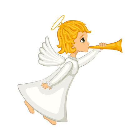 Christmas angel blowing a horn. Isolated cartoon cute angel on a white background. Vector illustration. Illustration