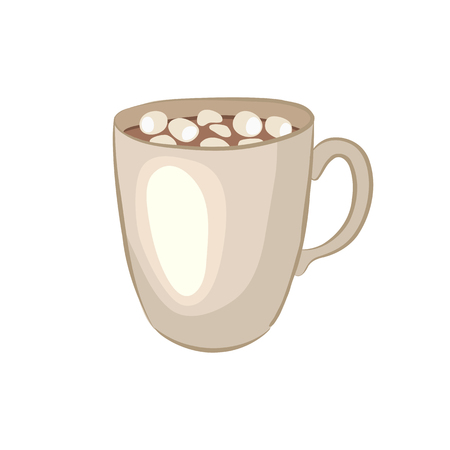 Hot chocolate. Cocoa souffle. Cartoon icon. Isolated object on a white background. Vector illustration