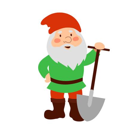 Garden gnome with shovel. Cartoon old man.