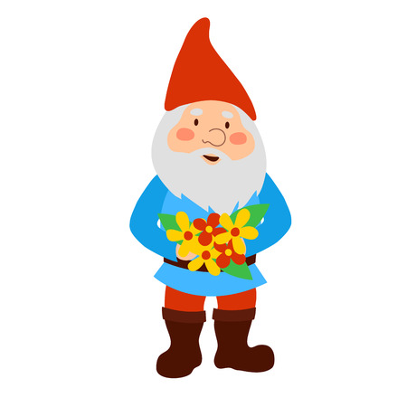 A garden gnome holding a bouquet of flowers