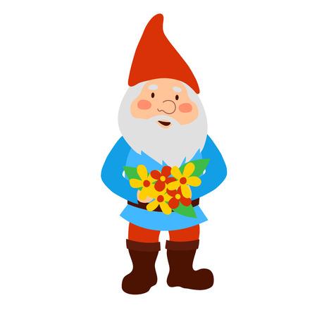 Ein Gartenzwerg , der einen Blumenstrauß hält Standard-Bild - 91536448